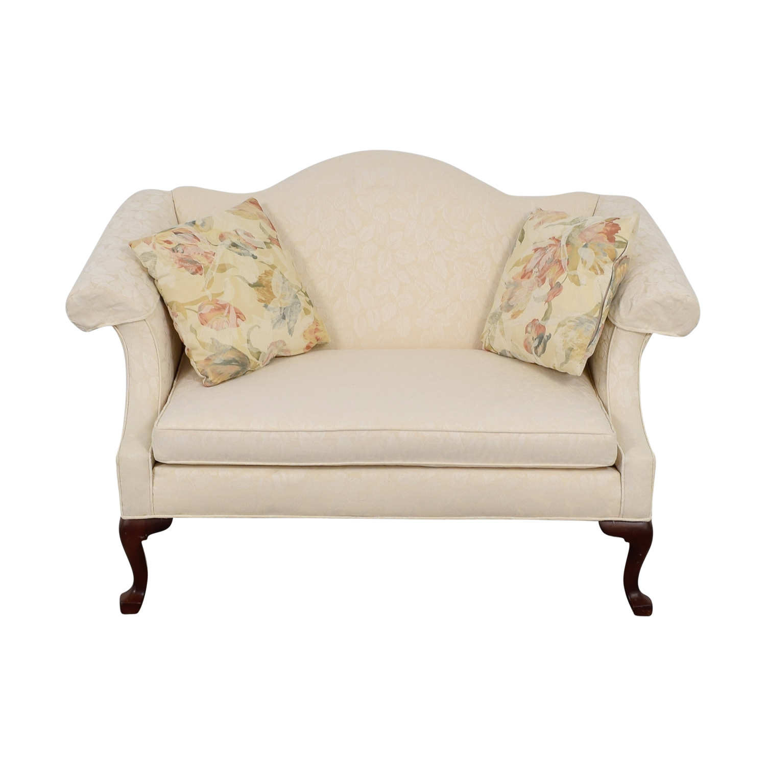 Ethan Allen Ethan Allen White Love Seat with Floral Pillows discount