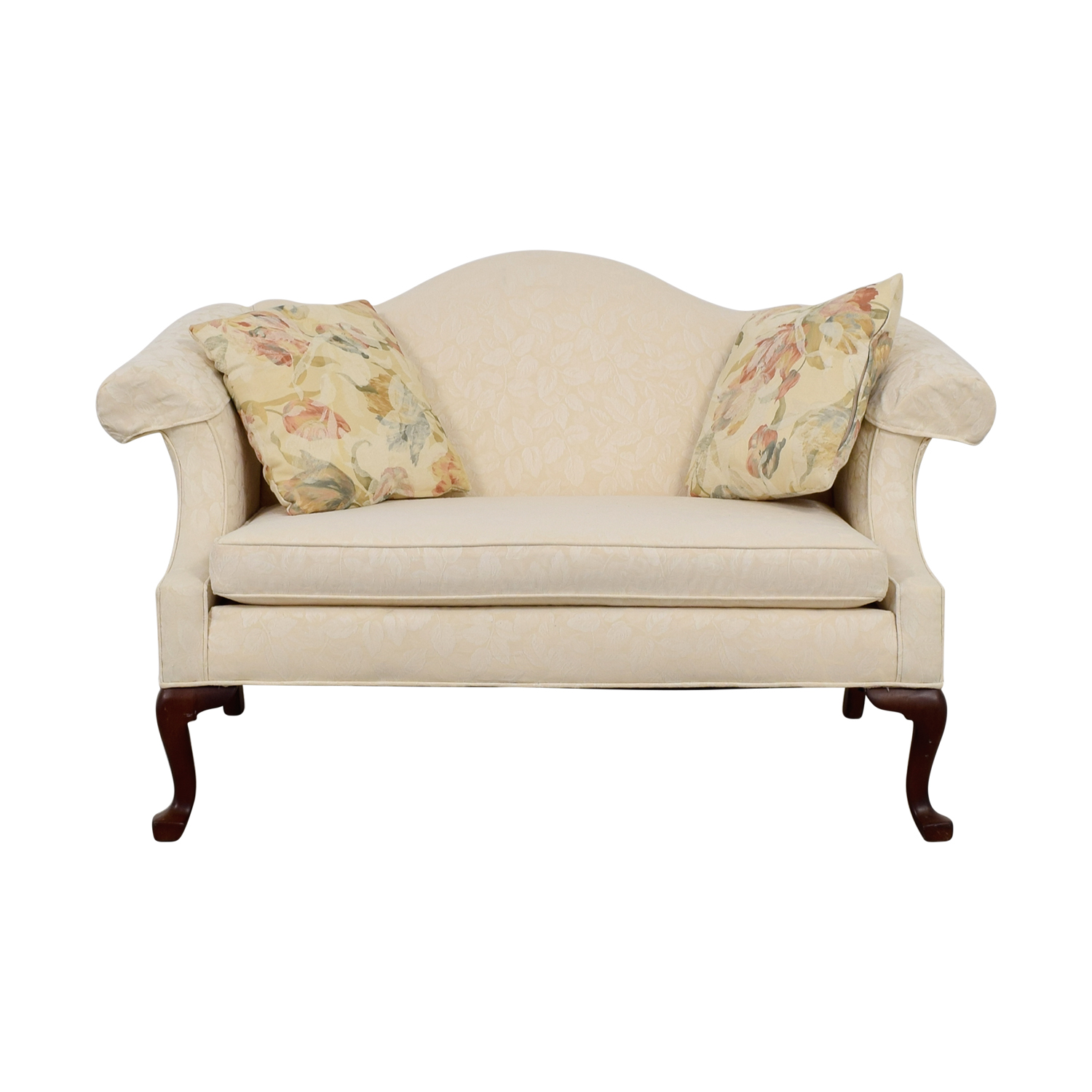 Ethan Allen White Love Seat with Floral Pillows Ethan Allen