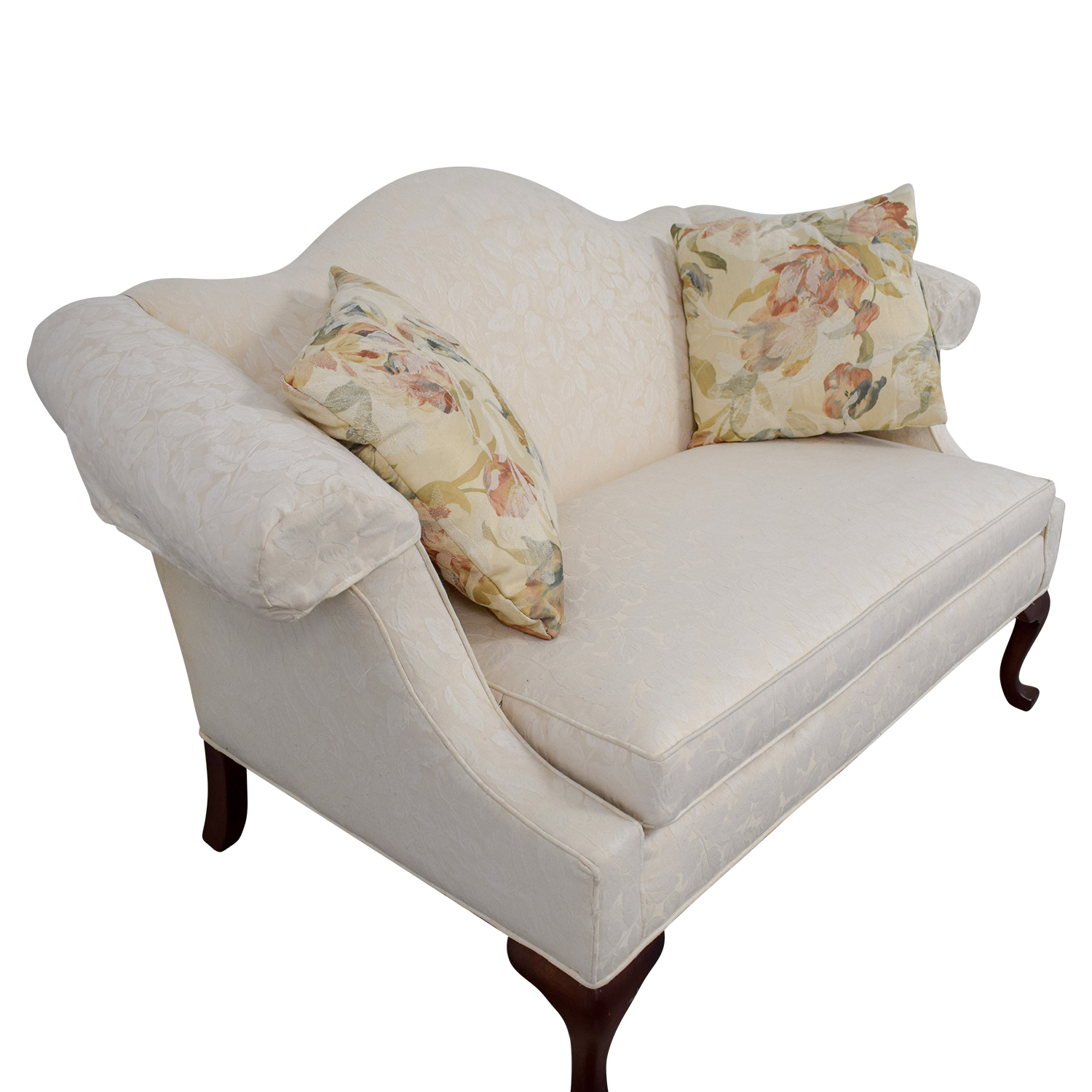 Ethan Allen Ethan Allen White Love Seat with Floral Pillows dimensions