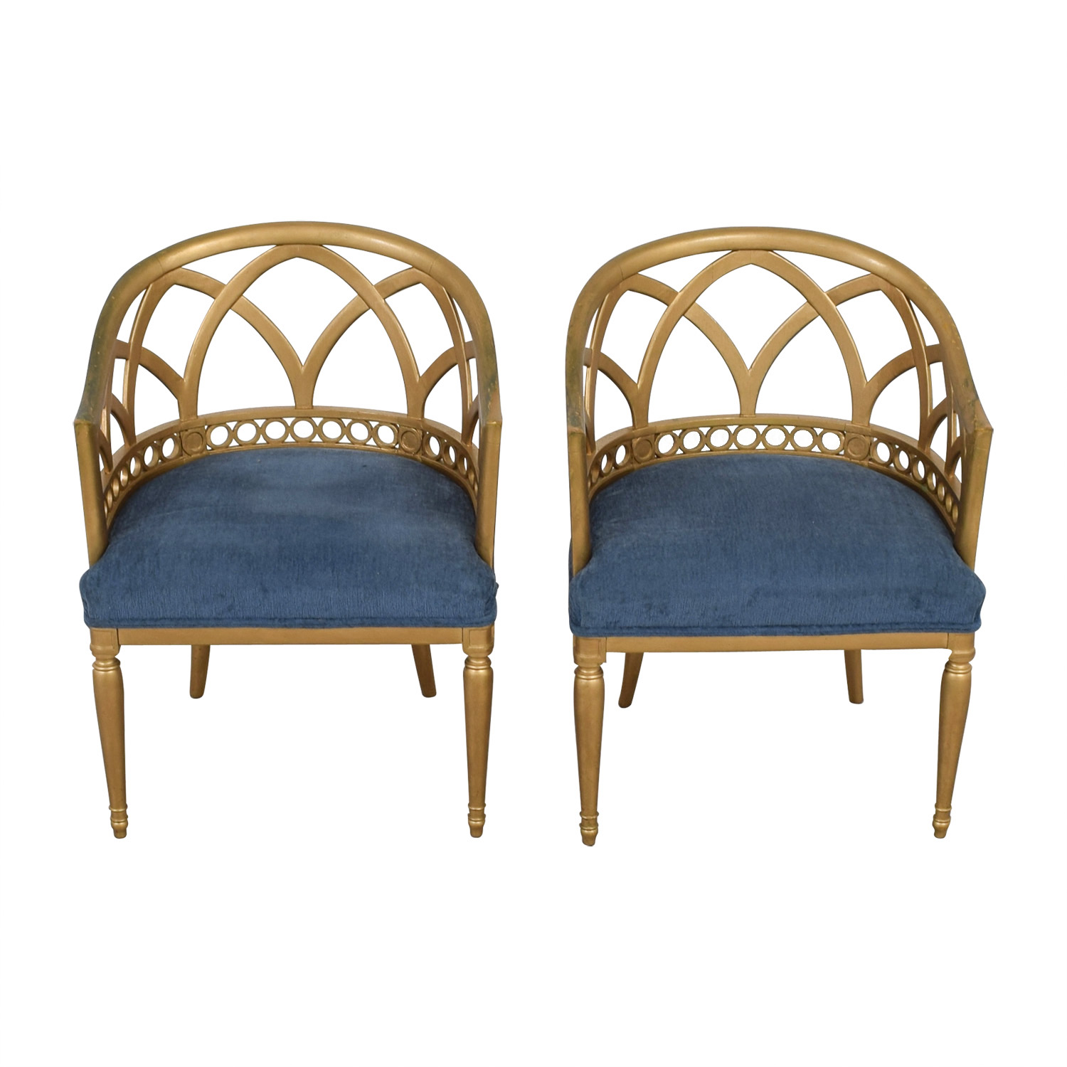 Regency Blue and Gold Accent Chairs coupon