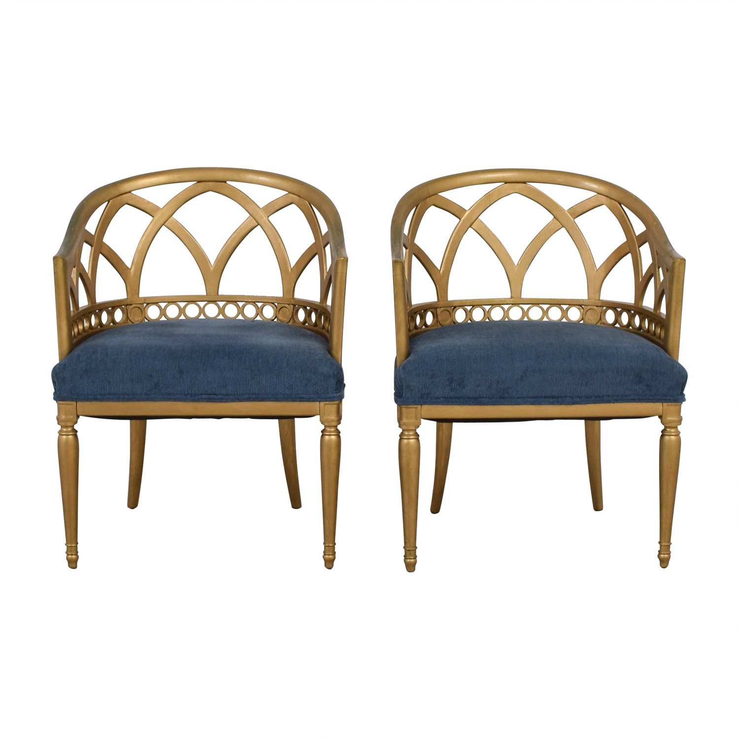 Regency Blue and Gold Accent Chairs on sale