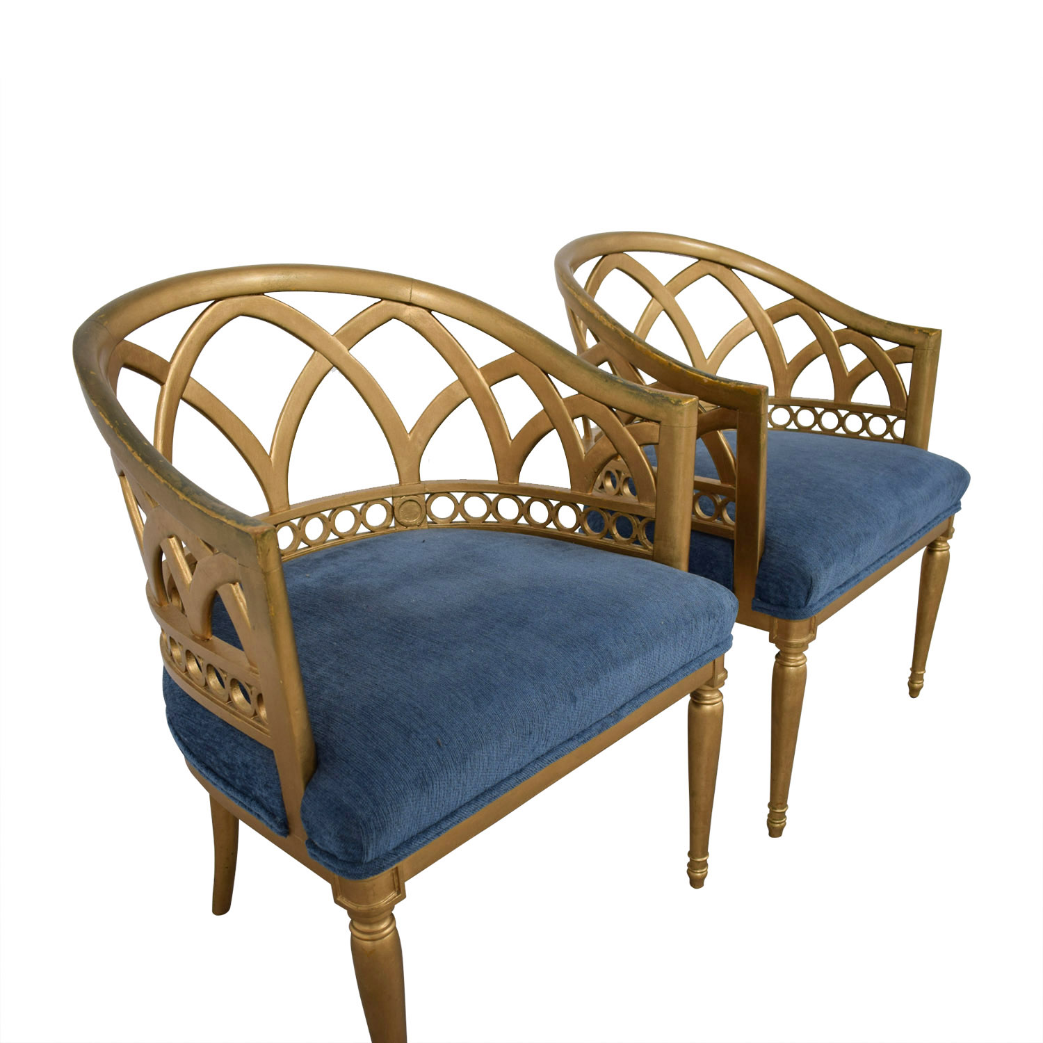 Regency Blue and Gold Accent Chairs second hand