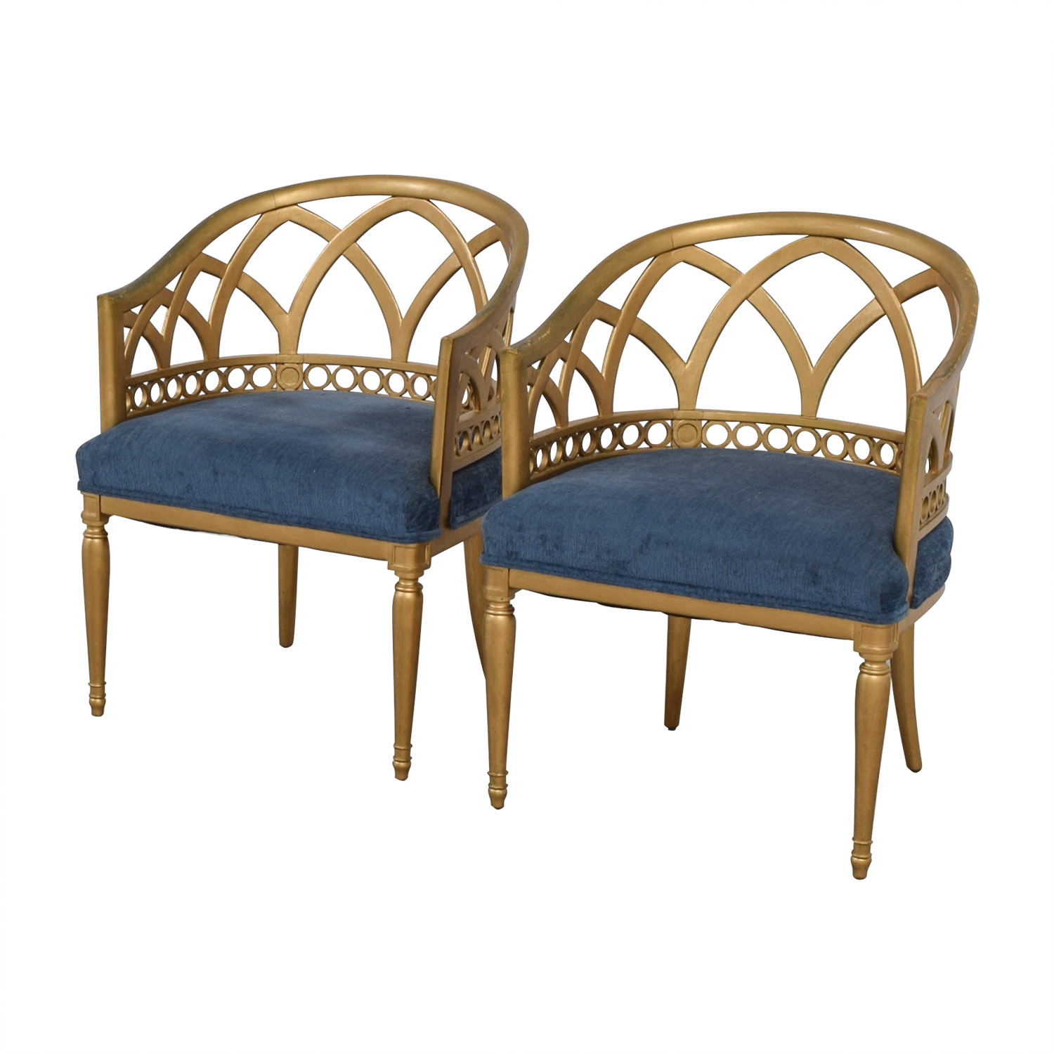 Regency Blue and Gold Accent Chairs