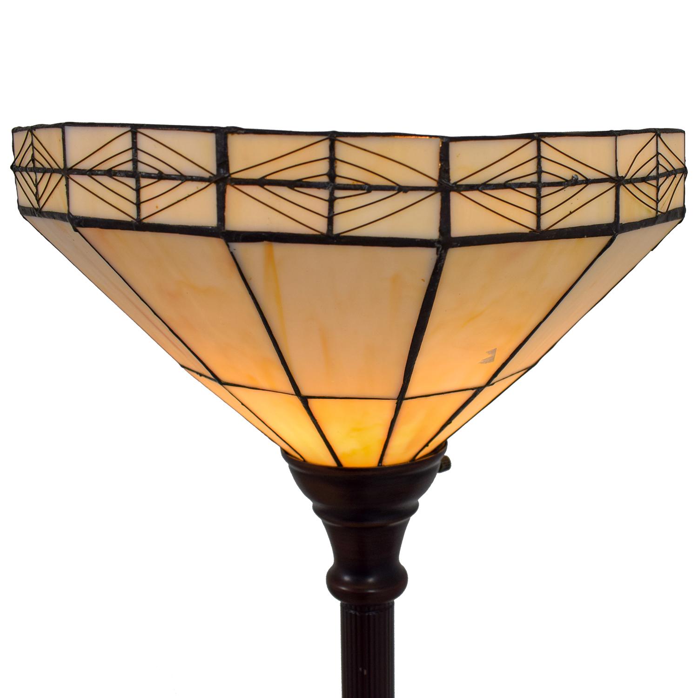 White Tiffany Inspired Floor Lamp brown/white top