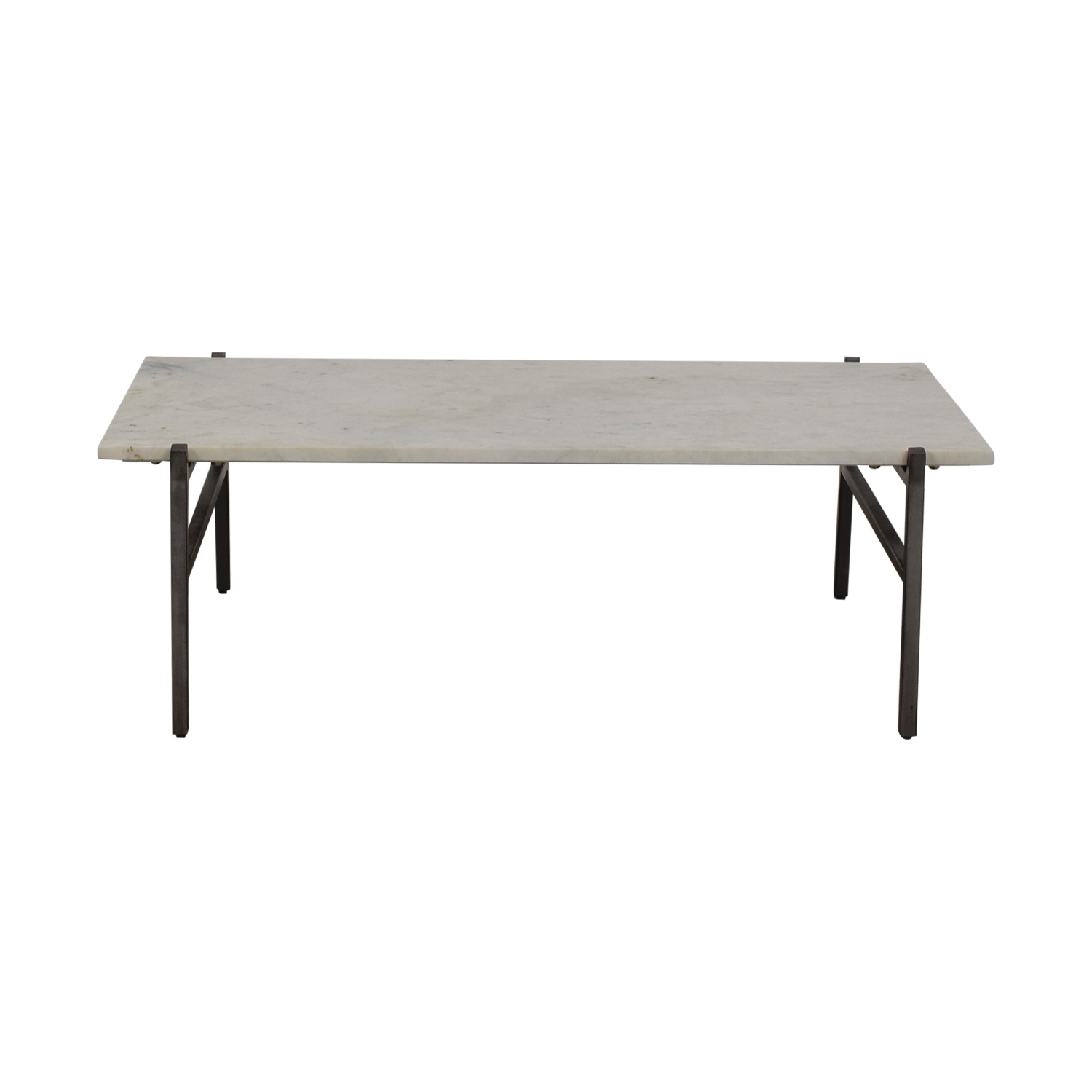 shop CB2 Slab Small Marble Coffee Table with Antiqued Silver Base CB2