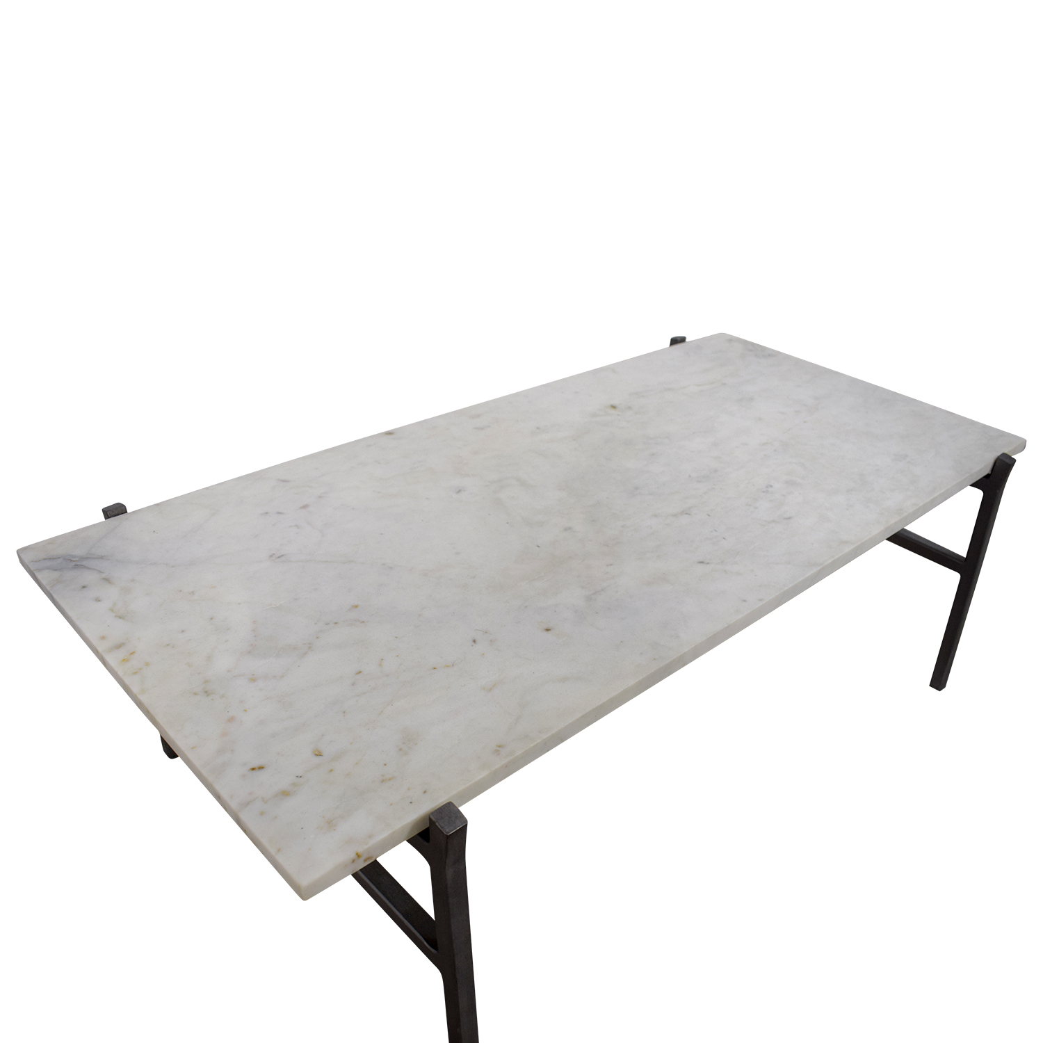 24 Off Cb2 Cb2 Slab Small Marble Coffee Table With Antiqued Silver Base Tables