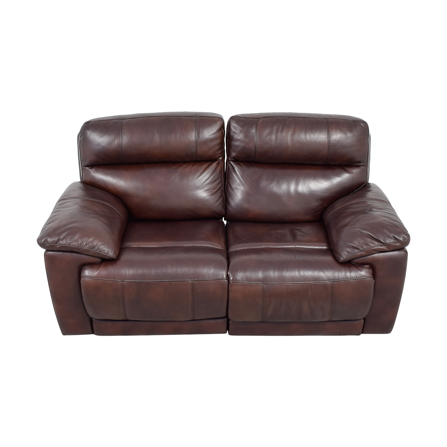 Raymour & Flanigan Raymour & Flanigan Burgundy Leather Double Reclining Sofa Cherry