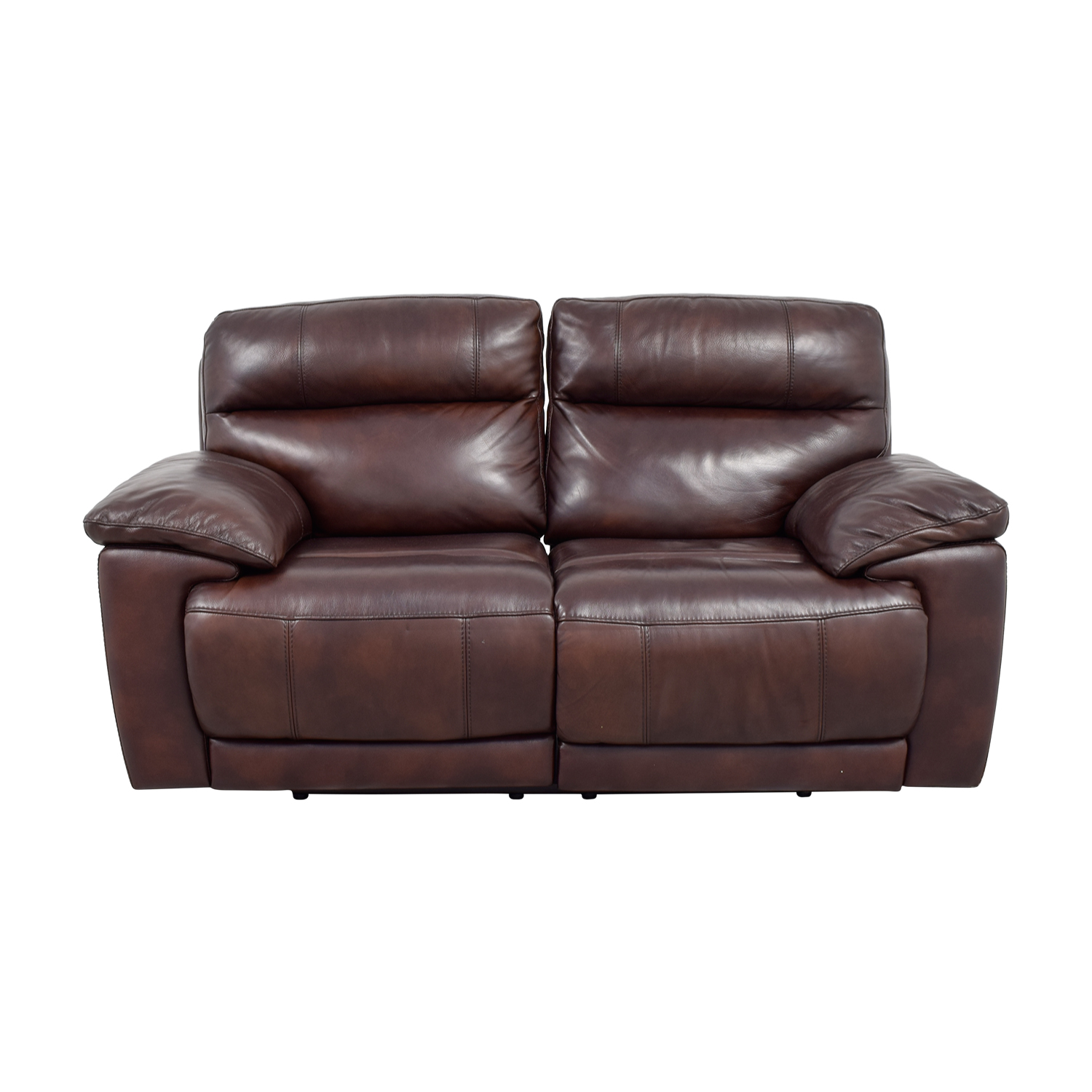 Raymour & Flanigan Raymour & Flanigan Burgundy Leather Double Reclining Sofa nyc
