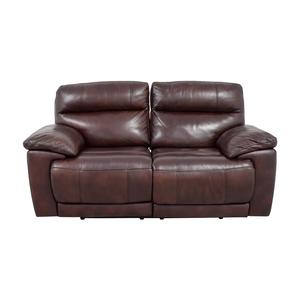 buy Raymour & Flanigan Burgundy Leather Double Reclining Sofa Raymour & Flanigan