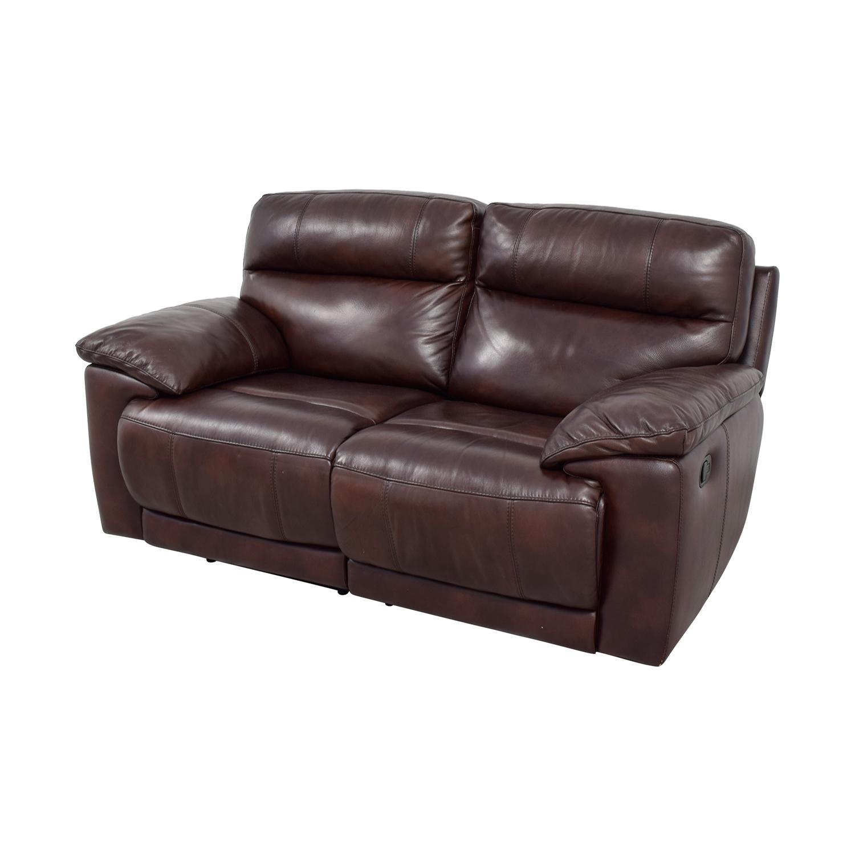 68% OFF - Raymour & Flanigan Raymour & Flanigan Burgundy Leather Double  Reclining Sofa / Sofas