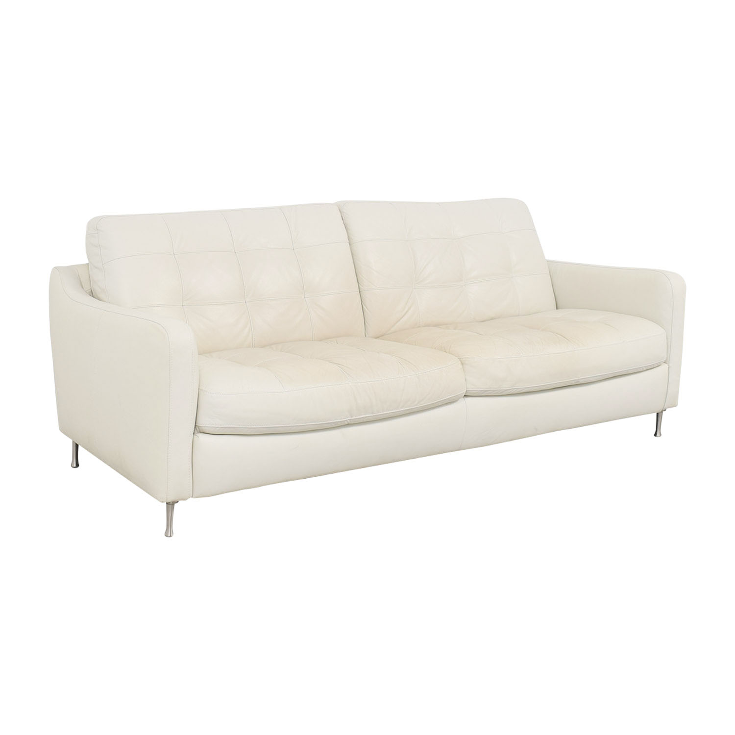 Ordinaire ... Buy Natuzzi Natuzzi White Tufted Leather Sofa Online ...