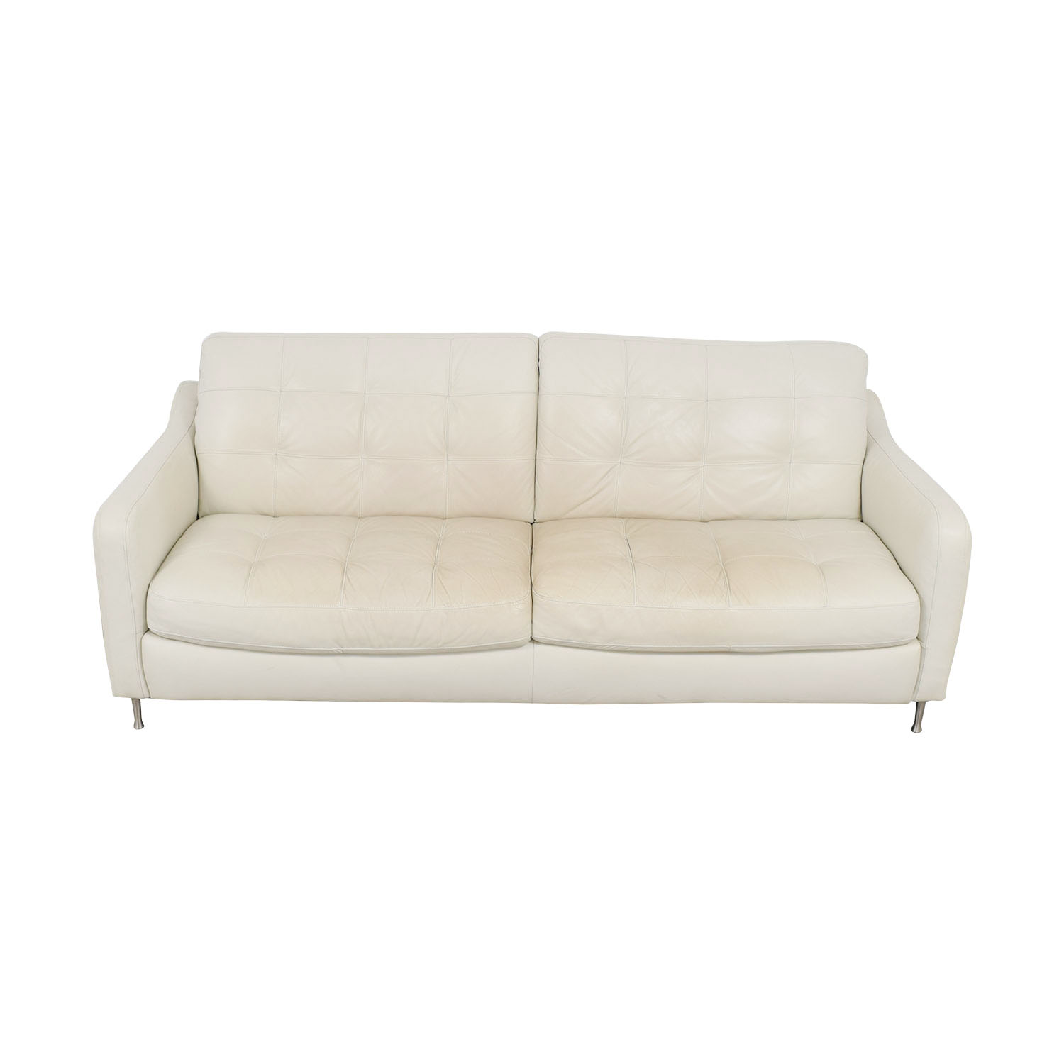 Natuzzi Natuzzi White Tufted Leather Sofa discount