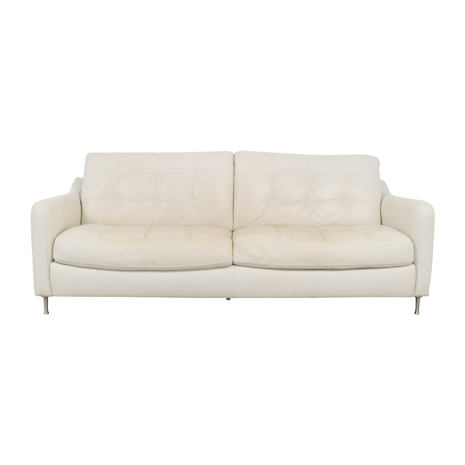 90 Off Natuzzi Natuzzi White Tufted Leather Sofa Sofas
