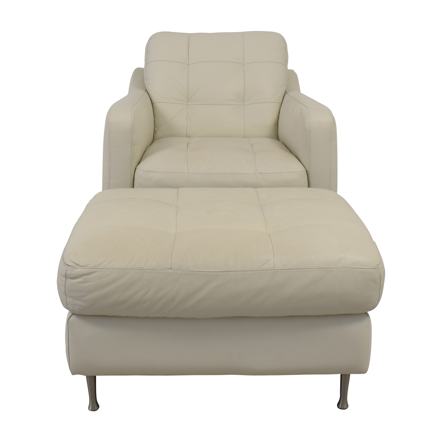 Natuzzi White Leather Chair & Ottoman sale