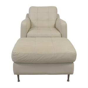 Natuzzi Natuzzi White Leather Chair & Ottoman for sale