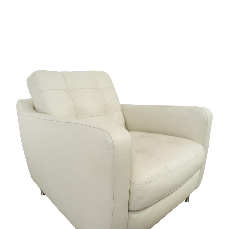 ... Buy Natuzzi Natuzzi White Leather Chair U0026 Ottoman Online ...