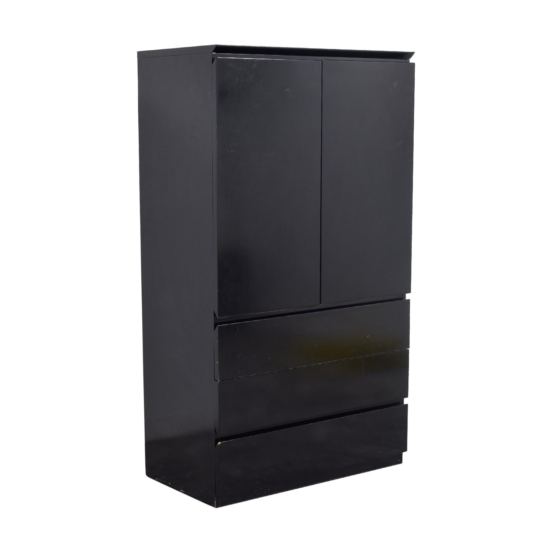 90 Off Black Lacquer Wardrobe Or Tv Console Storage