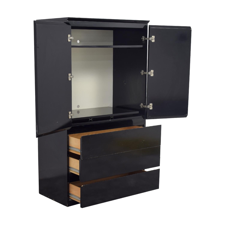90% OFF - Black Lacquer Wardrobe or TV Console / Storage