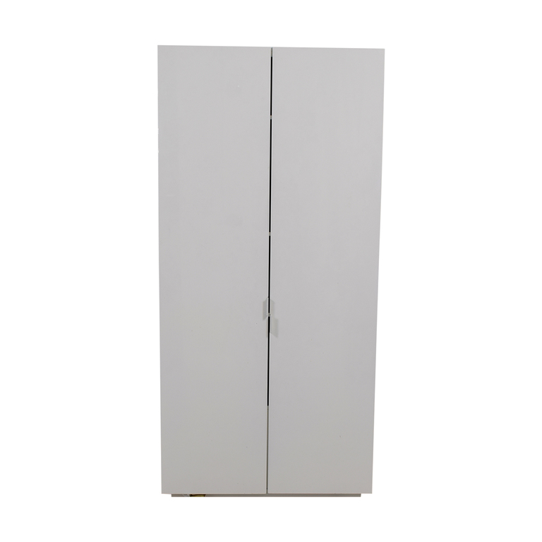 CB2 White Lacquer Wall Wardrobe with Shelves sale