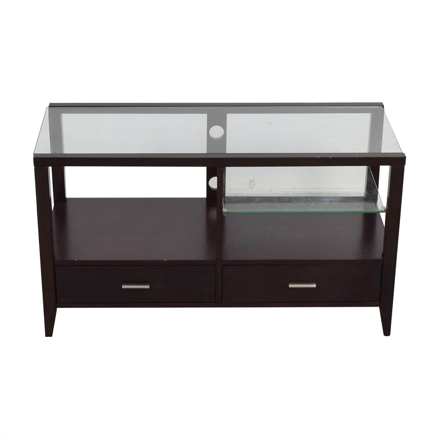 Belfort Furniture Belfort Furniture  Wood and Glass Entertainment Console second hand