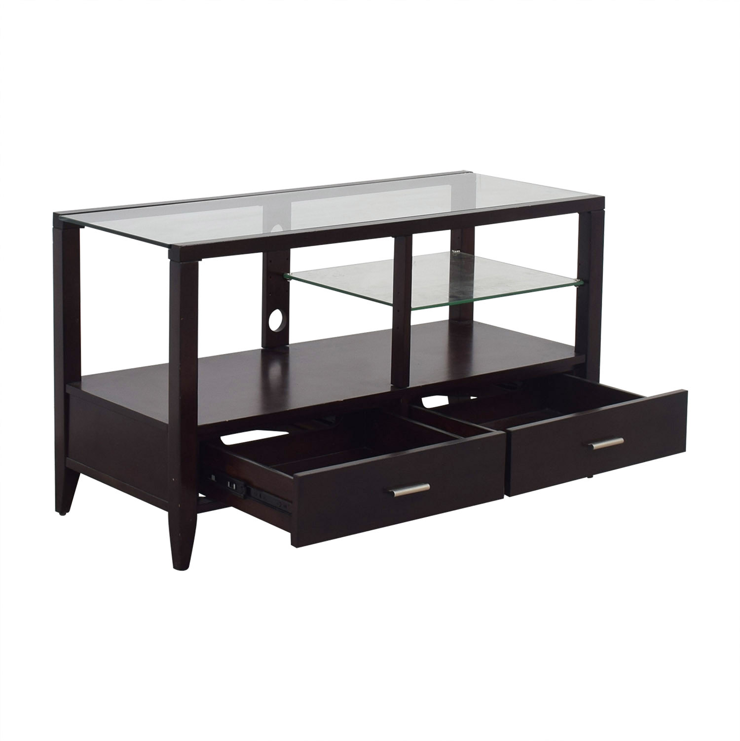 Belfort Furniture Belfort Furniture  Wood and Glass Entertainment Console Dark Cherry