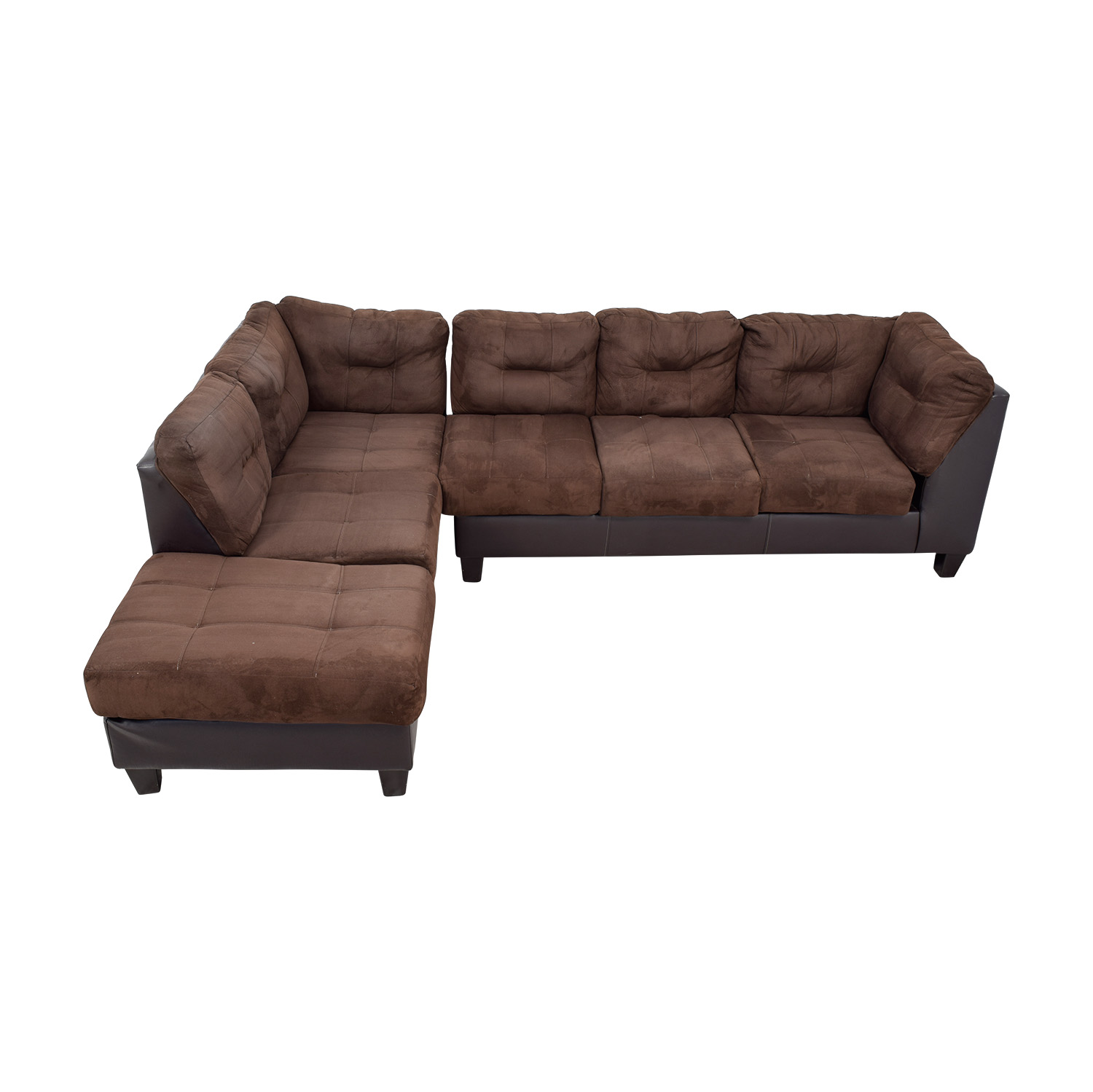 Raymour & Flanigan Brown Tufted  Sectional with Ottoman / Sectionals