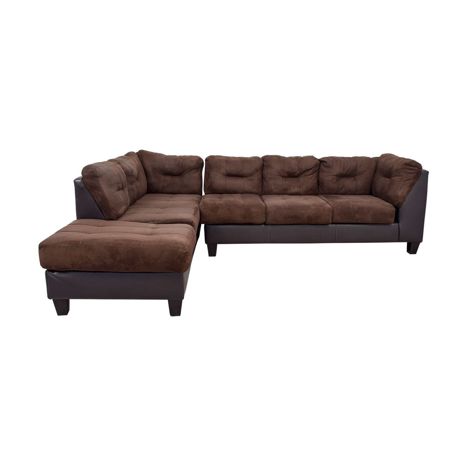 Raymour & Flanigan Raymour & Flanigan Brown Tufted  Sectional with Ottoman price
