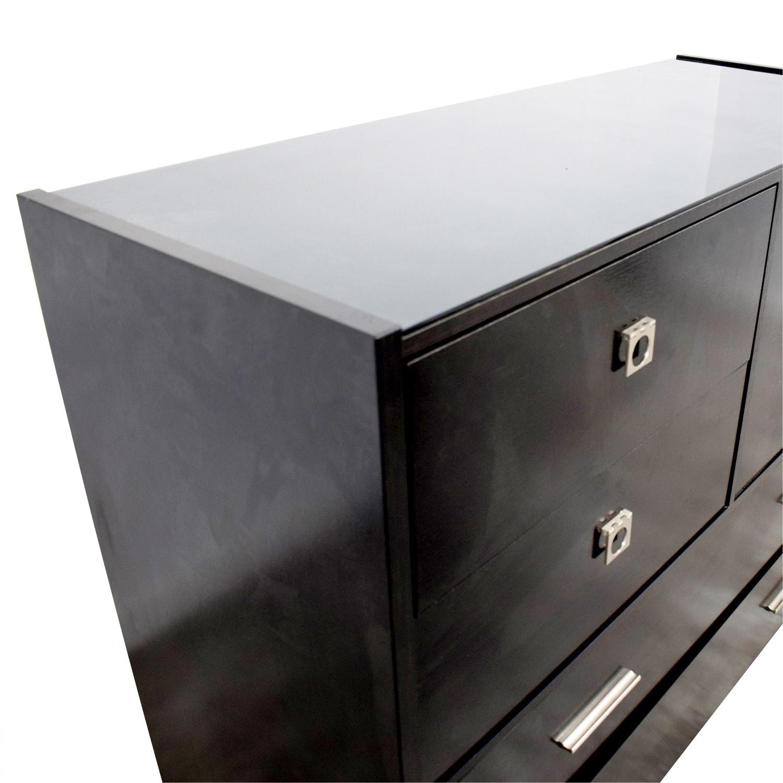 Raymour & Flanigan Six-Drawer Black Dresser Raymour & Flanigan