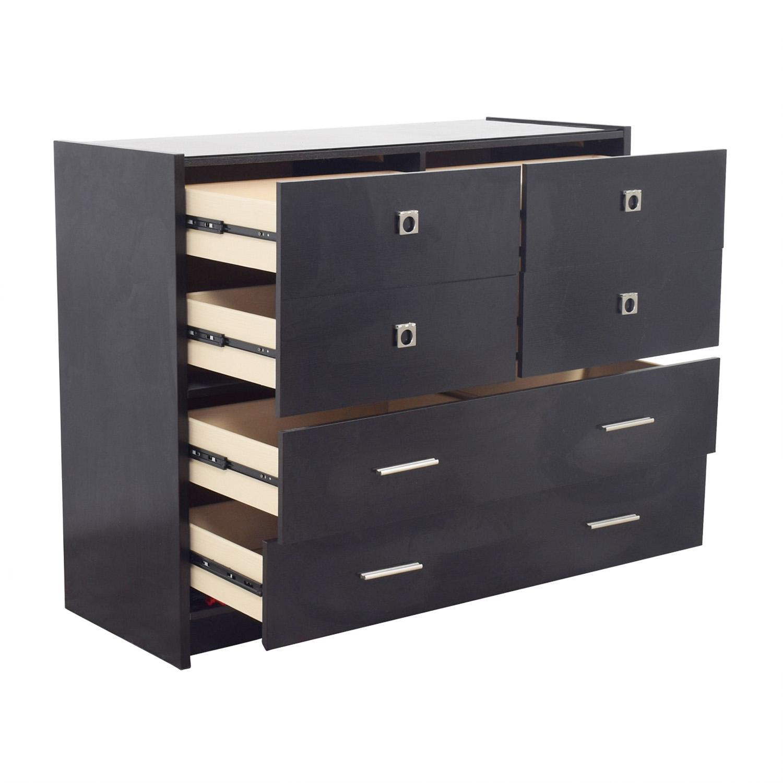 Raymour & Flanigan Six-Drawer Black Dresser / Dressers