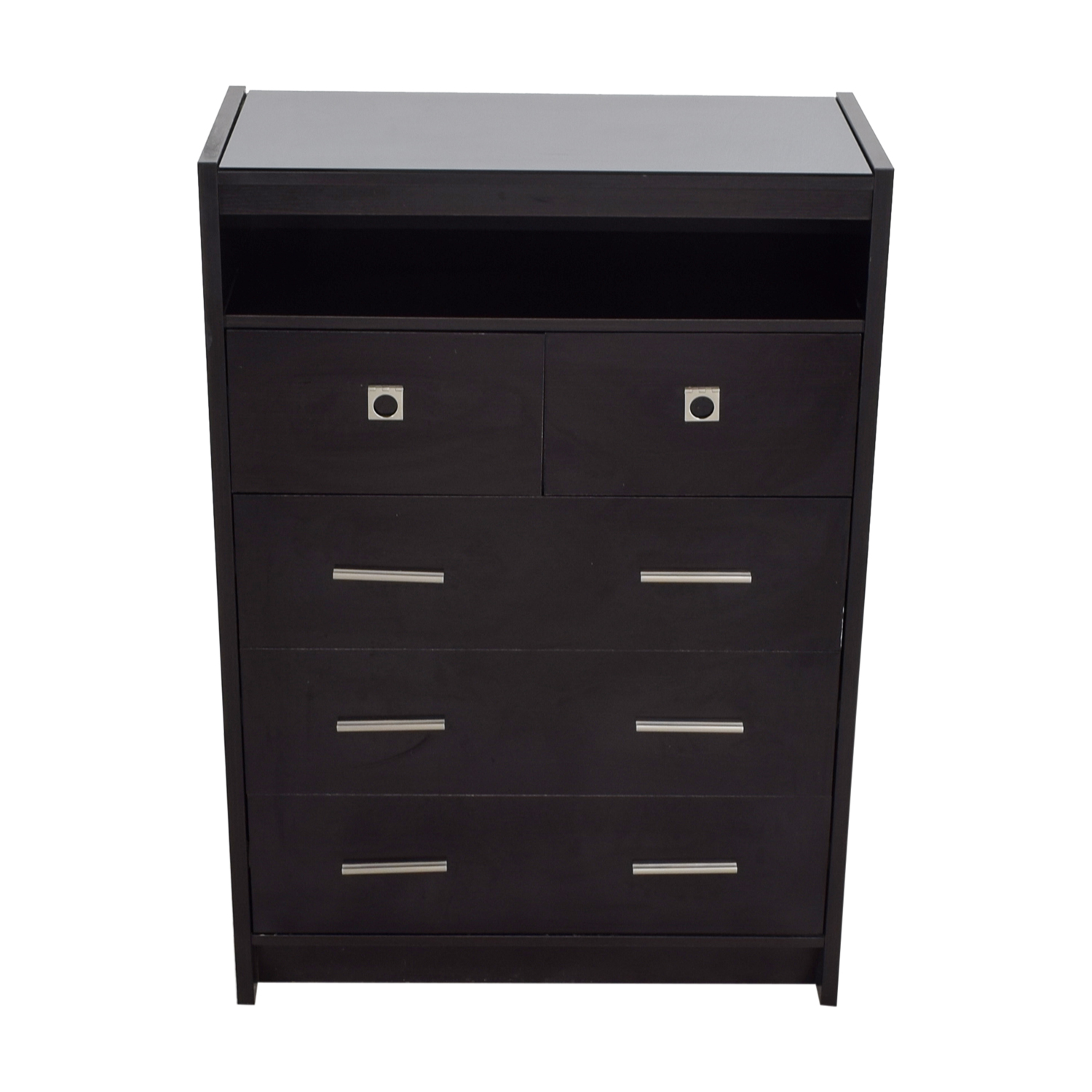 Raymour & Flanigan Black Five-Drawer Dresser sale