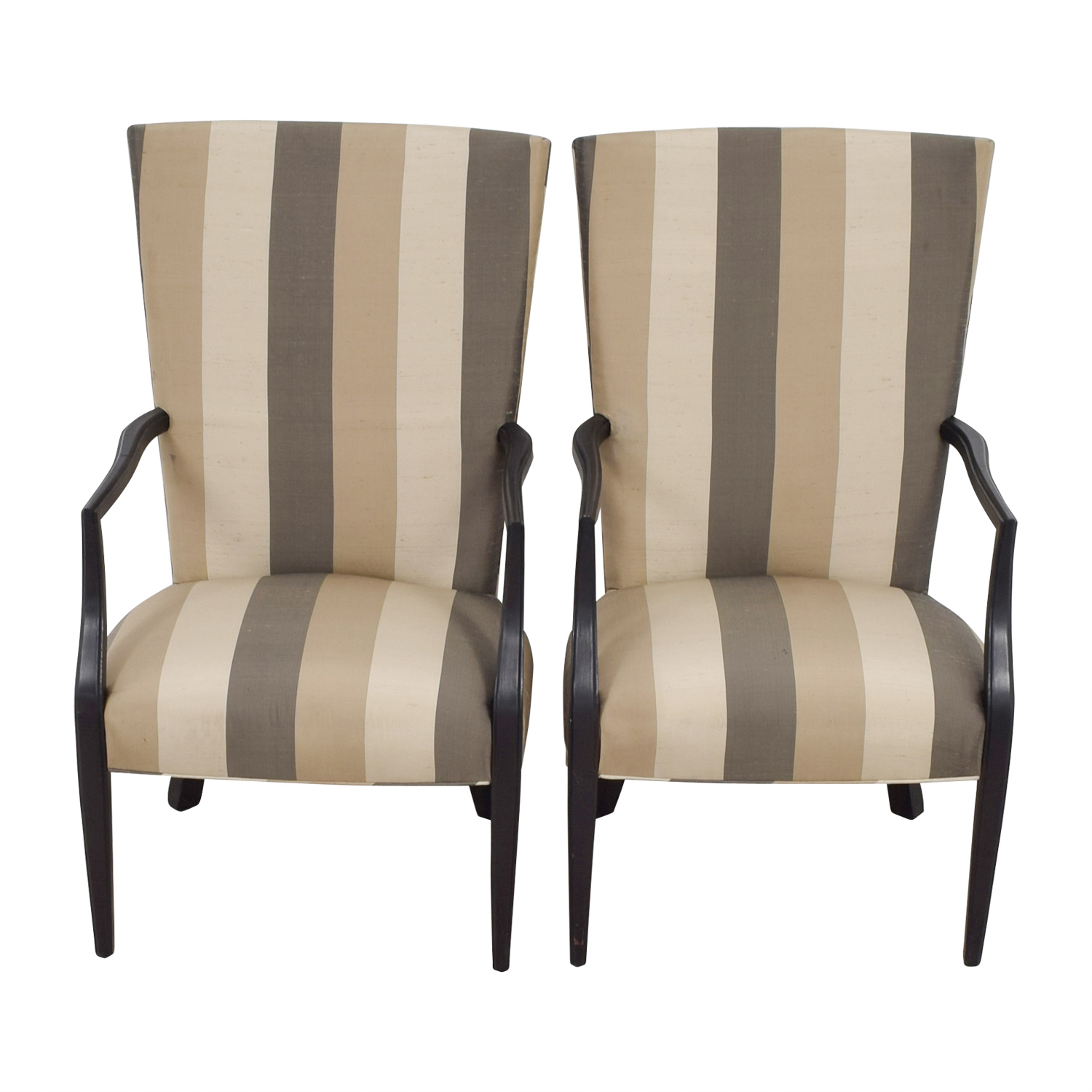 Hickory Chair Furniture Co. Vintage Neutral Stripe Chairs / Chairs