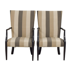 Hickory Chair Hickory Chair Furniture Co. Vintage Neutral Stripe Chairs nj