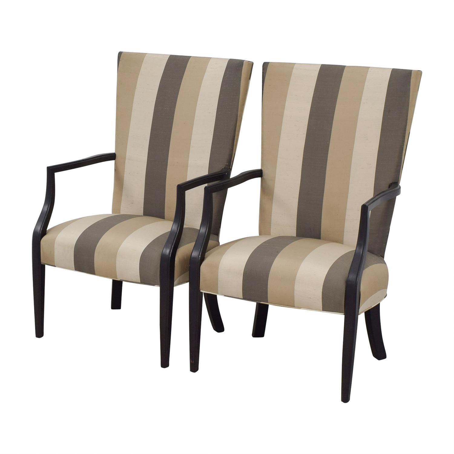 Hickory Chair Furniture Co Vintage Neutral Stripe Chairs