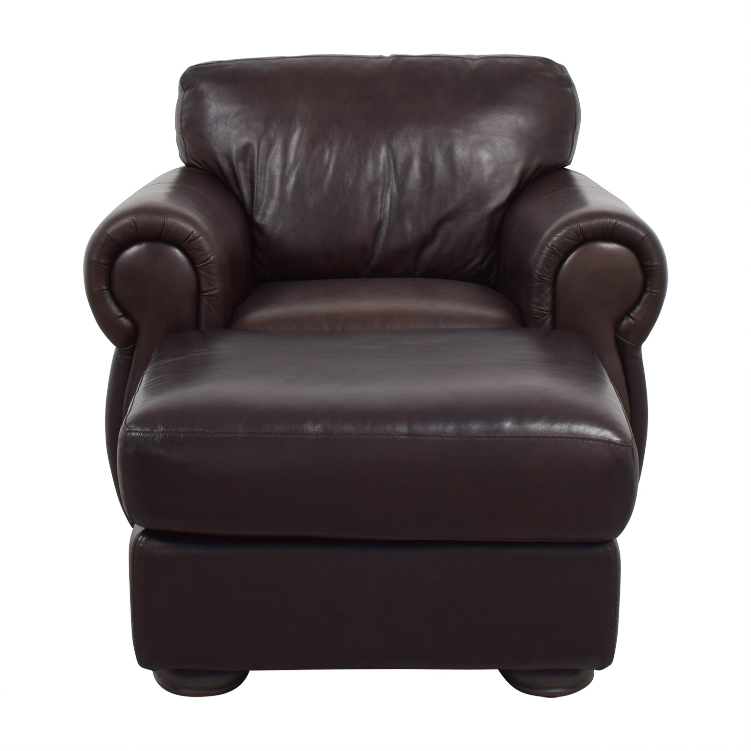 buy Raymour & Flanigan Brown Leather Chair and Ottoman Raymour & Flanigan