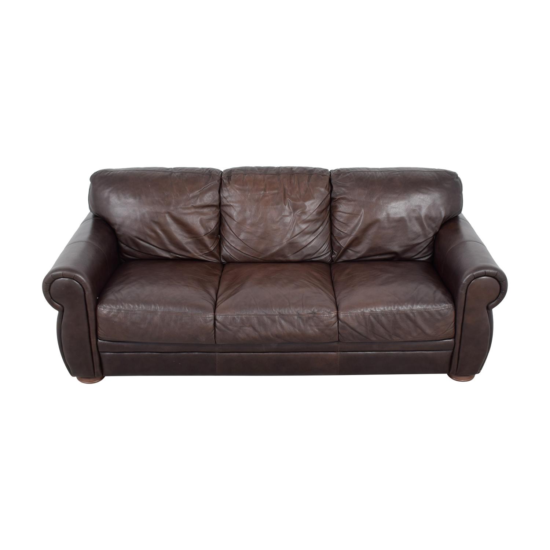 Raymour & Flanigan Raymour & Flanigan Brown Leather Three Cushion Sofa used
