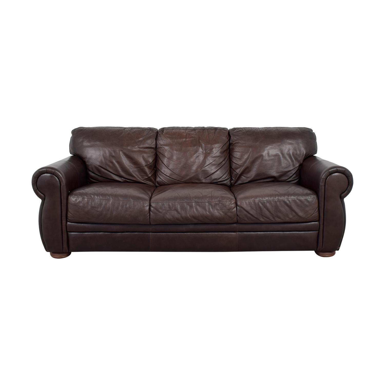 shop Raymour & Flanigan Brown Leather Three Cushion Sofa Raymour & Flanigan Sofas