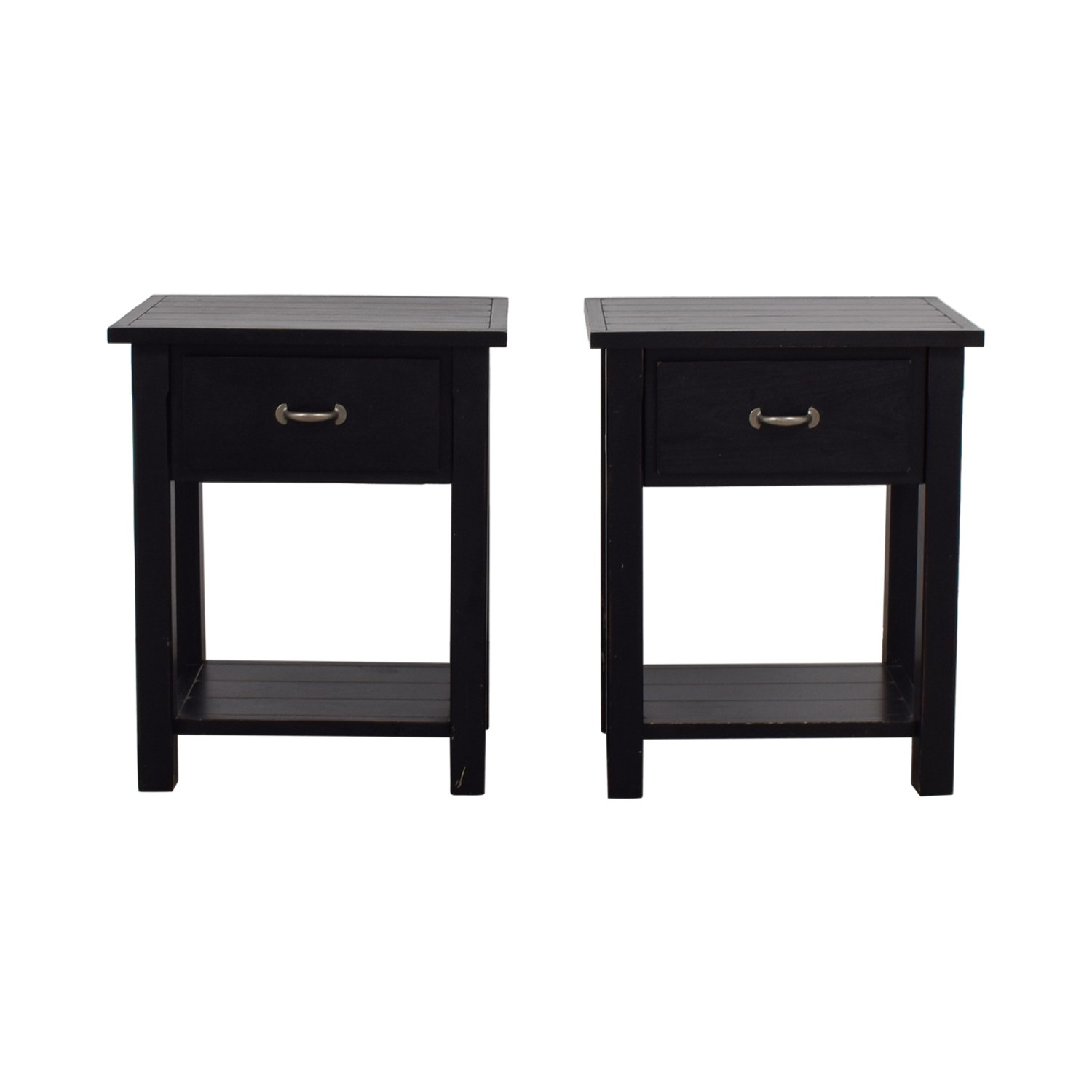 Pottery Barn Pottery Barn Black Single Drawer Side Tables on sale