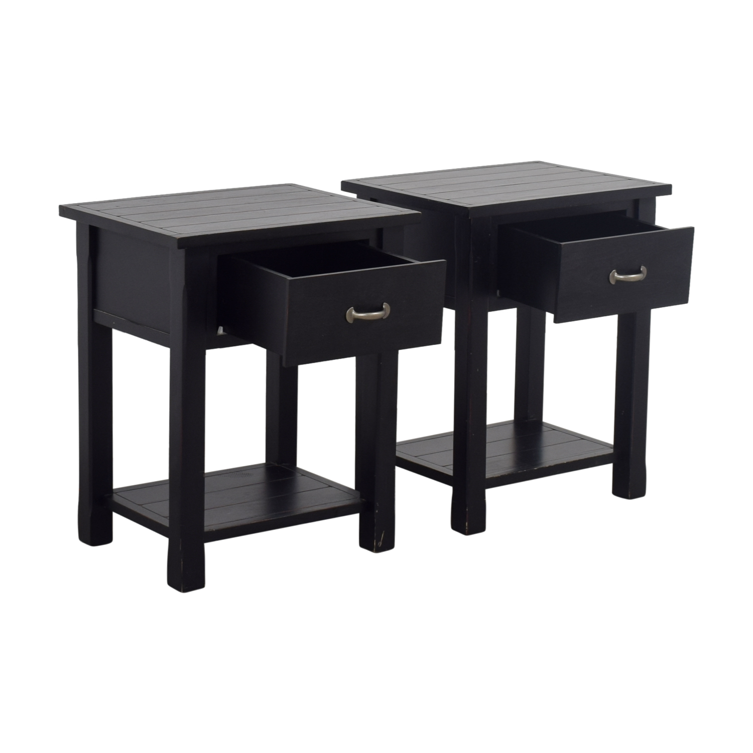 Pottery Barn Pottery Barn Black Single Drawer Side Tables for sale