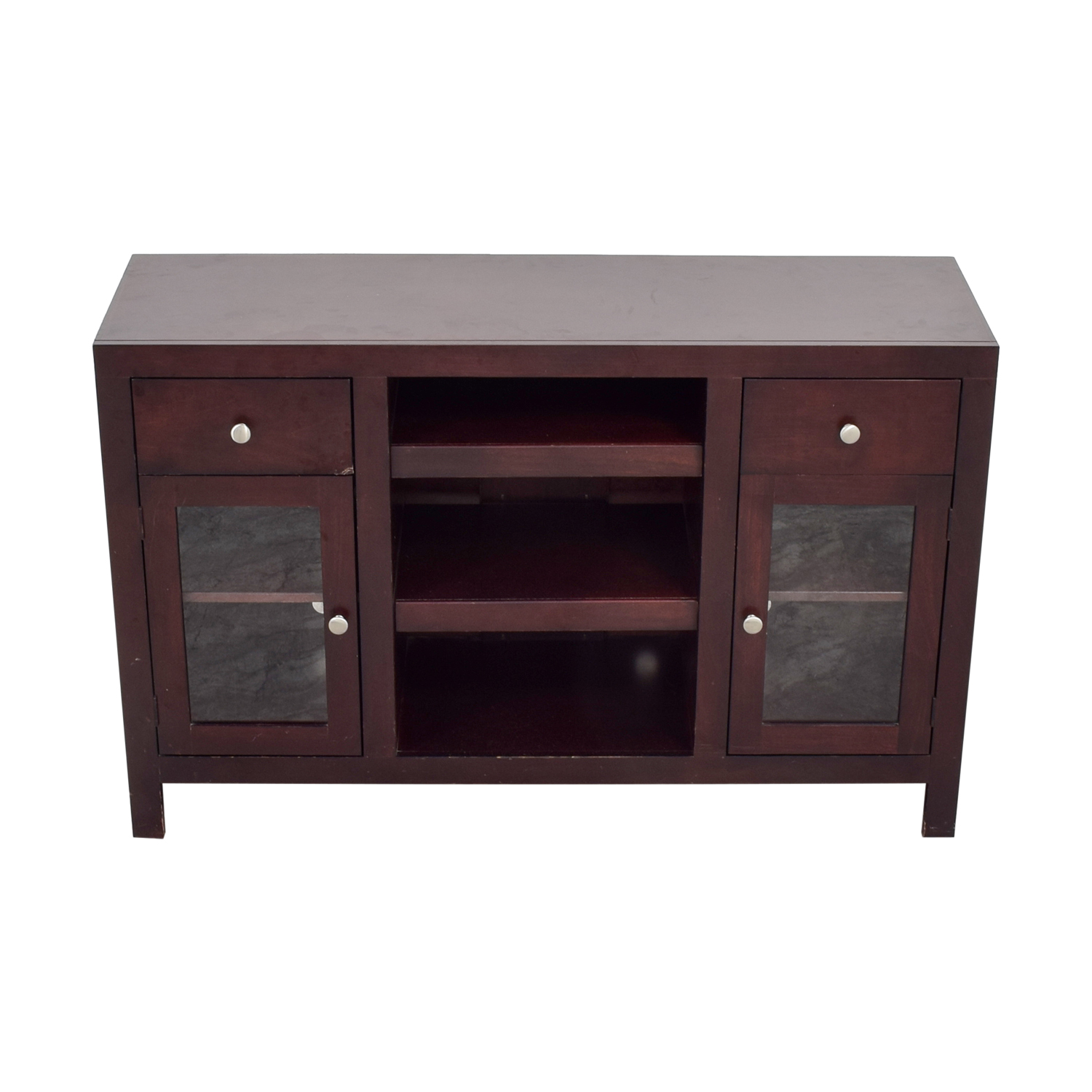 Raymour & Flanigan Two Drawer and Glass Cabinet TV Console / Storage