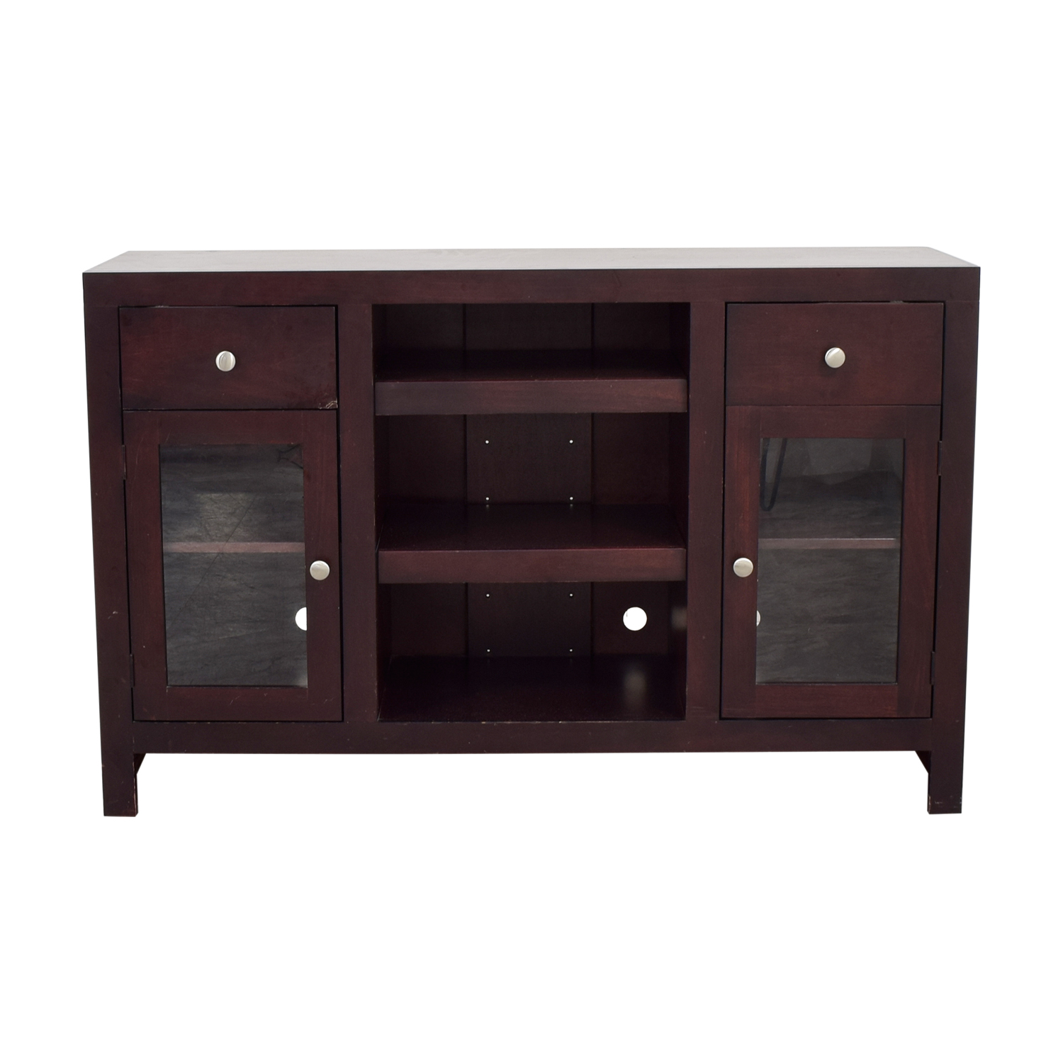 Raymour & Flanigan Raymour & Flanigan Two Drawer and Glass Cabinet TV Console on sale