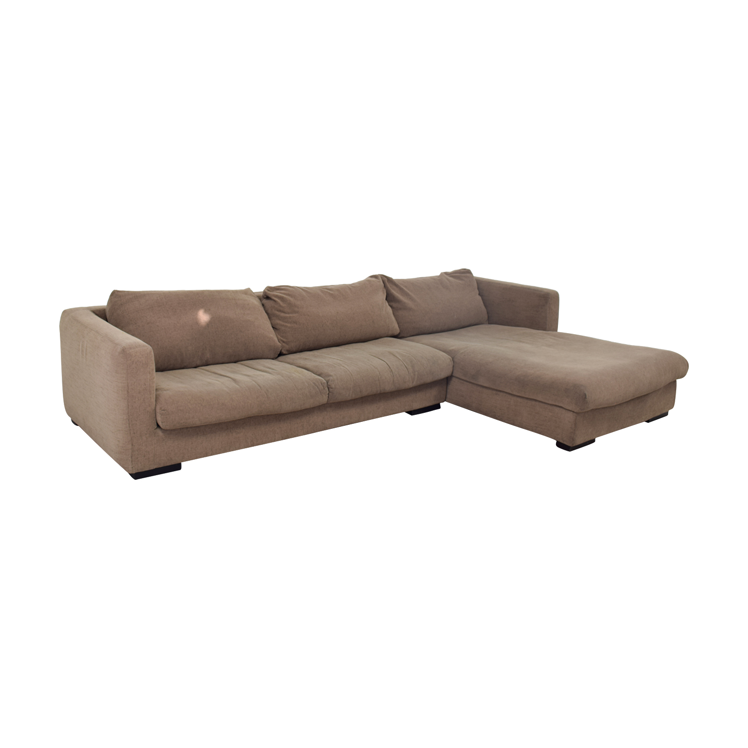 shop Plummers Furniture Tan Down Feather Chaise Sectional Plummers Furniture Sectionals