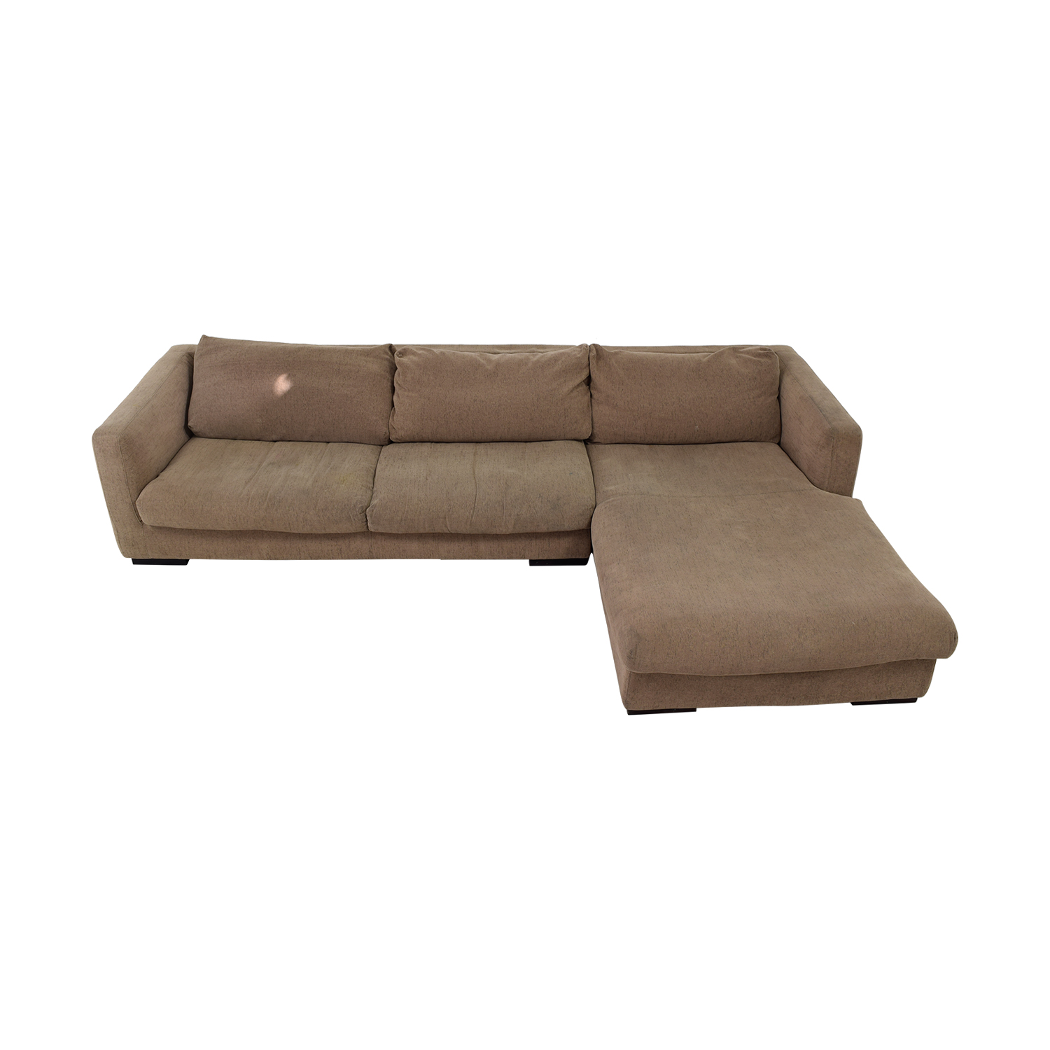 Plummers Furniture Plummers Furniture Tan Down Feather Chaise Sectional second hand