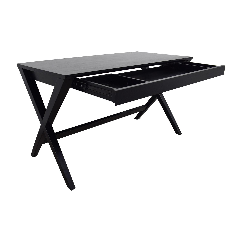 shop Crate & Barrel Black Single-Drawer Desk Crate & Barrel Home Office Desks