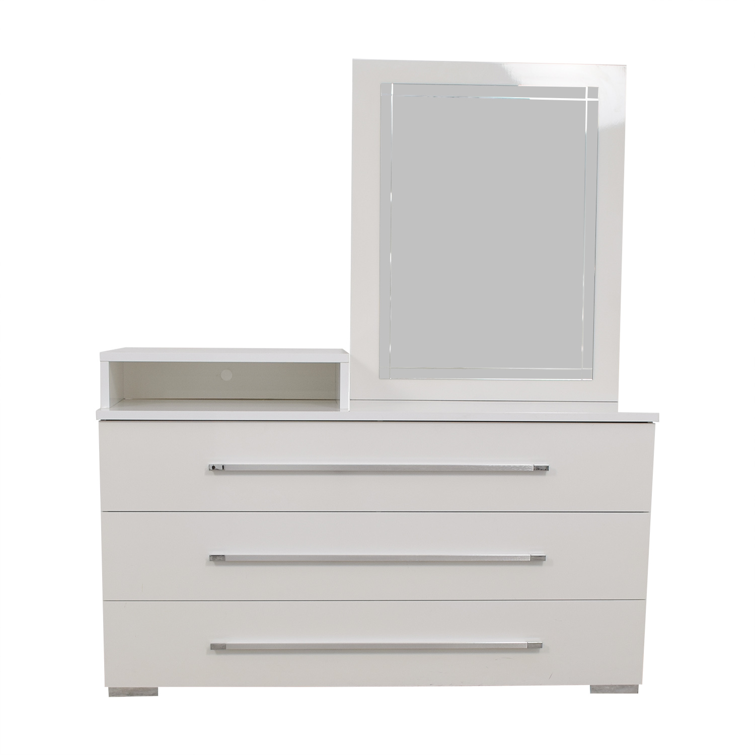 Value City Furniture White Dresser with Deck and Mirror sale