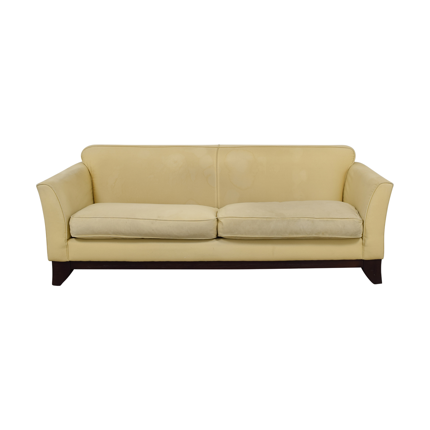 shop Pottery Barn Beige Upholstered Two-Cushion Sofa Pottery Barn