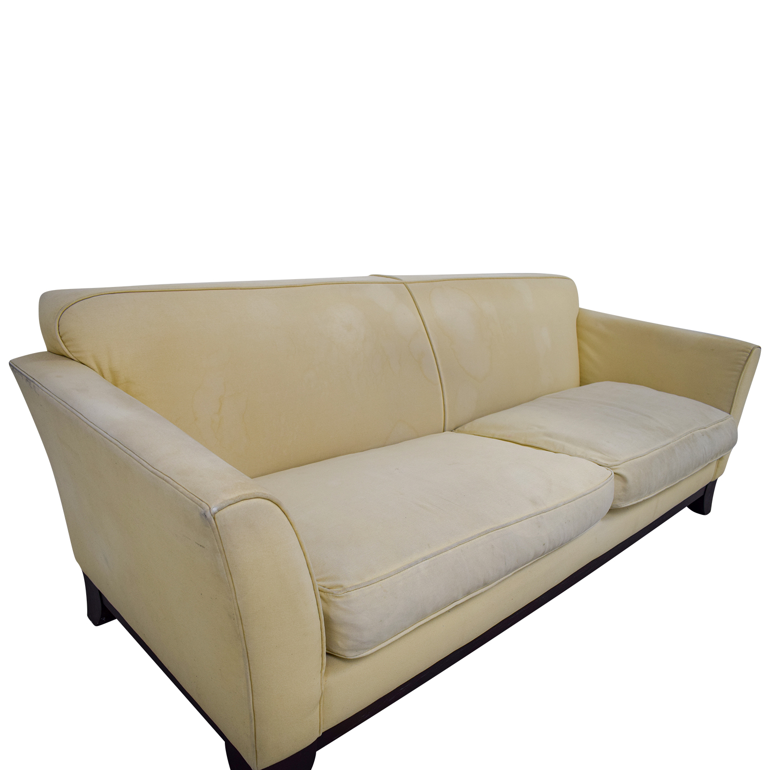 shop Pottery Barn Beige Upholstered Two-Cushion Sofa Pottery Barn Classic Sofas