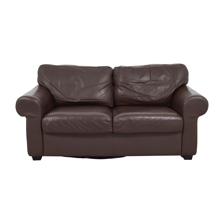 Super 72 Off Ikea Ikea Timsfors Leather Brown Loveseat Sofas Inzonedesignstudio Interior Chair Design Inzonedesignstudiocom