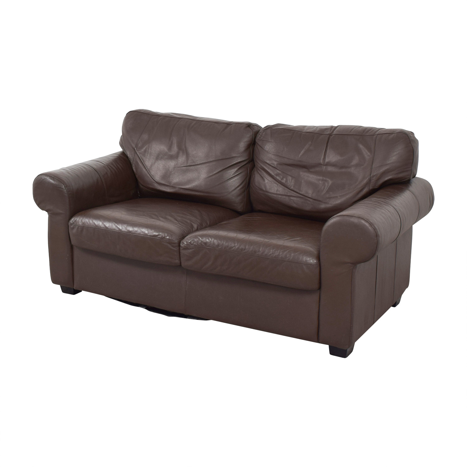 72 Off Ikea Ikea Timsfors Leather Brown Loveseat Sofas