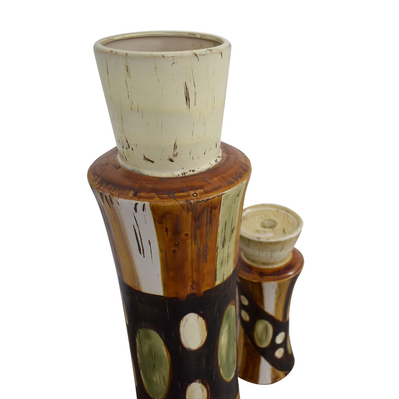 HomeGoods HomeGoods Ceramic Vase and Pillar Candle Holder Multi