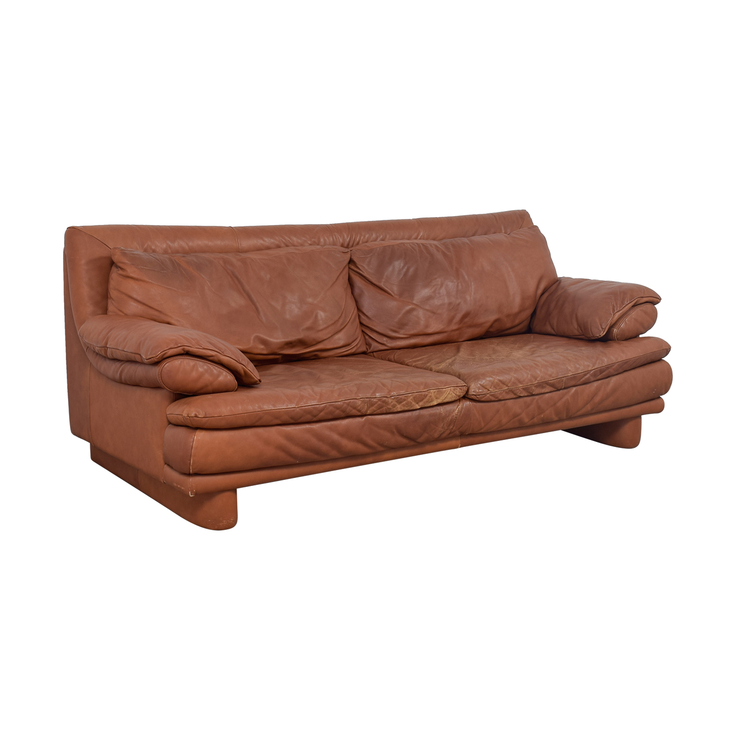 Maurice Villency Brown Leather Sofa